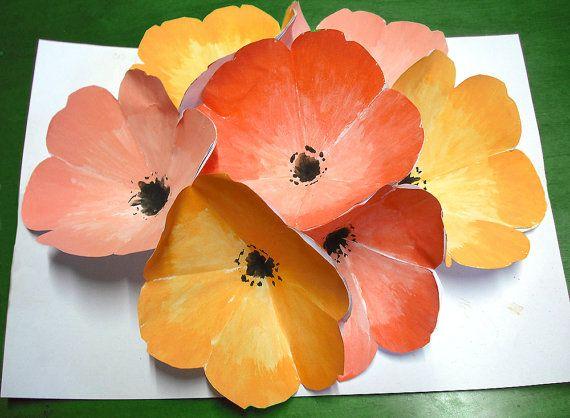 Festa della mamma biglietto popup fiori tridimensionali in acquerello origami ritagliati e dipinti a mano composizione floreale in 3D