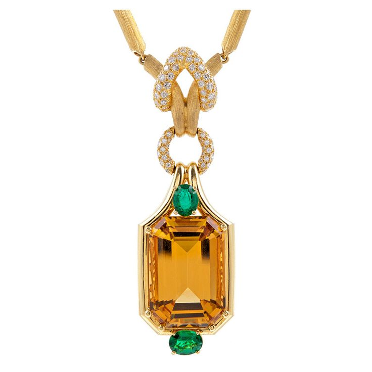 HENRY DUNAY Citrine Emerald Diamond Yellow Gold Necklace