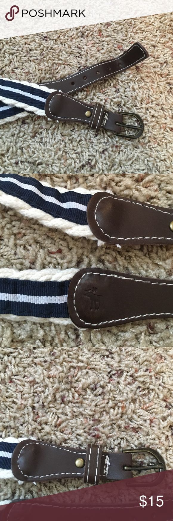 Abercrombie and Fitch brand belt Never before worn, like new condition, fabric belt. Blue, white and brown. Should fit size 4. Abercrombie & Fitch Accessories Belts