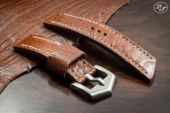 Handmade brown Ostrich leg leather watch strap 20 22 24 26 mm made in italy watchstrap leatherstrap leather custom exotic craft strapmaker panerai pam ennebi vintage