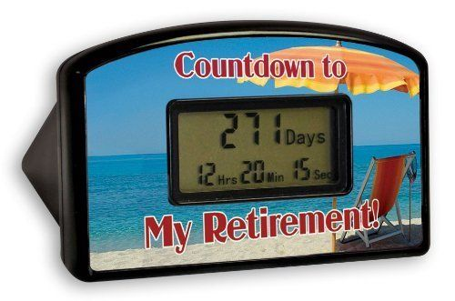 "With This Great Countdown Clock You'Ll Know Exactly When It'S Time To Retire - Big Mouth Toys Countdown Timer - Retirement Red Chair (Blister) by Big Mouth Toys. $13.95. Once the clock reaches the milestone, it can be reset to start counting again. The clock is 4"" wide by 2.5"" high. With this great countdown clock you'll know exactly when it's time to retire. Big Mouth Toys Countdown Timer - Retirement Red Chair (Blister)This Beach Retirement Countdown Clock will hel..."