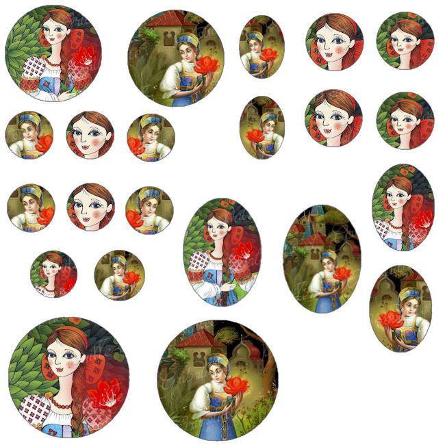 """images digitales pour cabochon thème contes russes """" fleur écarlate"""" : Images digitales pour bijoux par patouille-et-gribouille"""