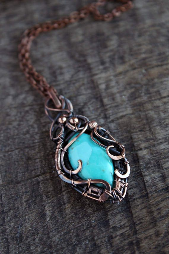 turquiose pendant copper pendant with chain gypsy necklace
