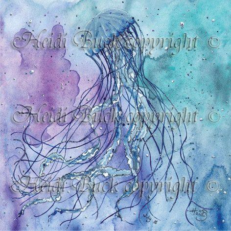 Compass Jellyfish Greetings Card