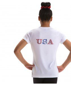 White V Neck USA T-Shirt