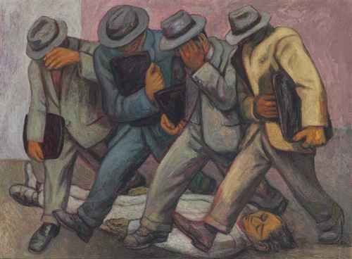 Alfredo Zalce (Mexican, 1908-2003), Los abogados [Lawyers], 1952. Oil on masonite, 36 x 48 in.