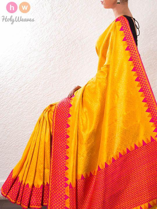 Yellow Handwoven Katan Silk Kadhuan Brocade Saree - HolyWeaves