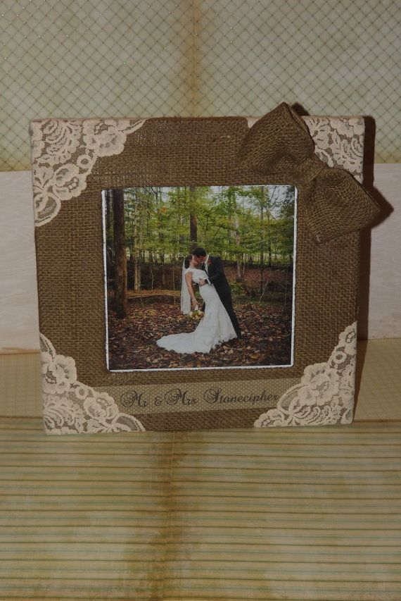 Burlap and lace embellished wedding picture frame by BurlapSax, $29.00
