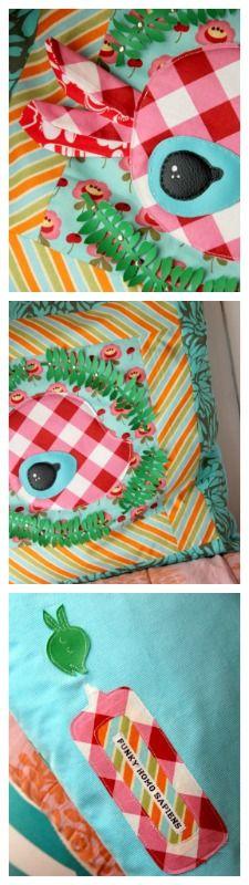 NEW! OOAK Funky Homo sapiens's Applique + Patchwork Funky Bambi- pillow no.1, 50cm x 50cm
