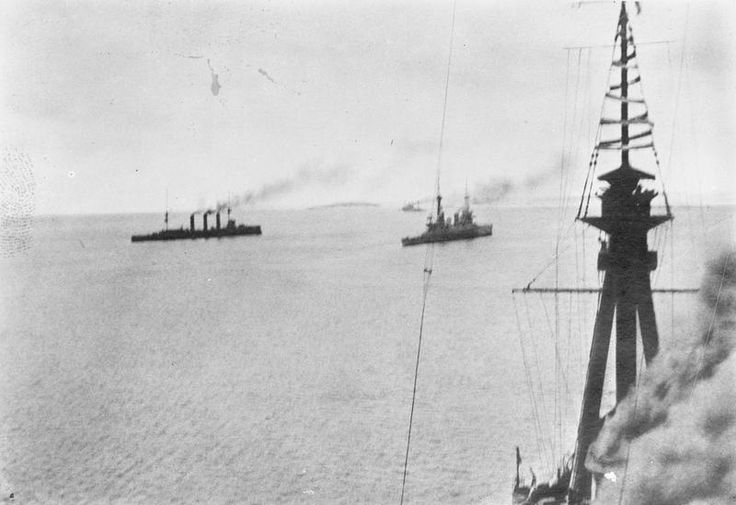 HMS Kent, Glasgow and Inflexible at the Battle of the Falkland Islands 8th December 1914: photograph taken by Paymaster Sub-Lieutenant Duckworth RN from HMS Invincible http://www.britishbattles.com/battle-of-the-falkland-islands/.