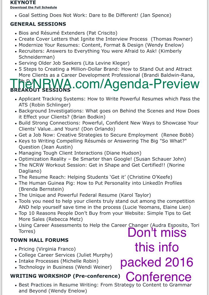 Make Sure You Check Out The Topics For Our Info Packed Conference In September Thenrwaconf Resumewriters Careercoach Resume Writer Resume Interview Process