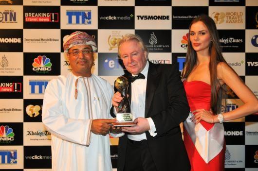 Middle East's Responsible Tourism Award 2012: National Ferries Company, Oman |   Mr Ghazi Al Zadjali, Head of Marketing at National Ferries Company  with Mr Graham Cooke, President & Founder of World Travel Awards