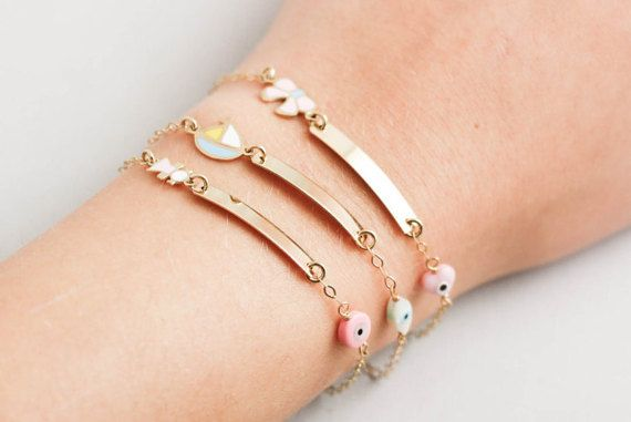 Children's ID bracelet 14k gold engraved bracelet for