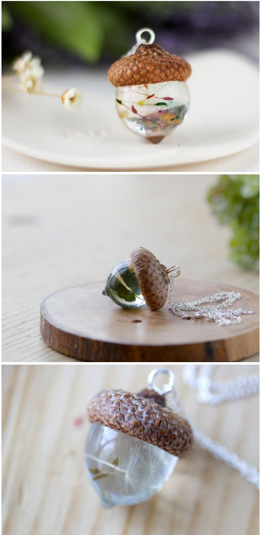 Resin Acorn Pendants are a Festive Update to Your Fall Wardrobe