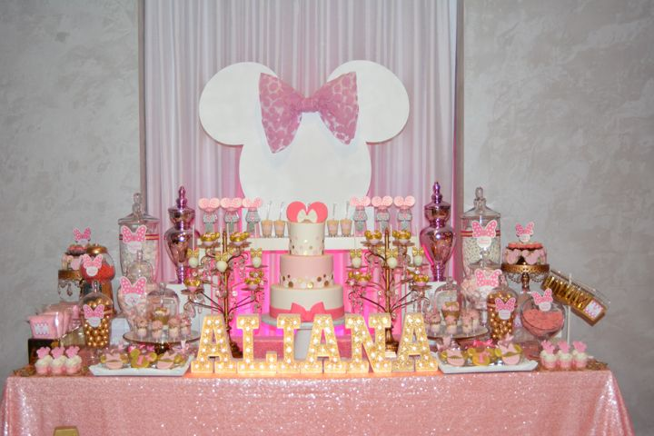 pink and gold minnie mouse first birthday dessert table decor with gold marquee letters pink. Black Bedroom Furniture Sets. Home Design Ideas