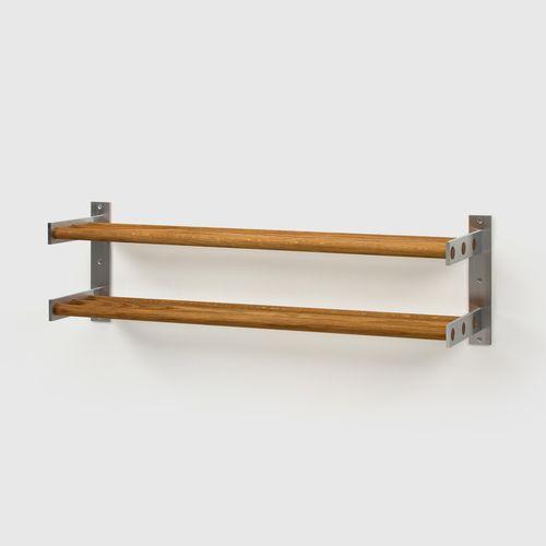 SKOHYLLA 5  W 120 x H 35 x D 31,5 cm  Aluminium, Oak / Birch / White / Black Oak