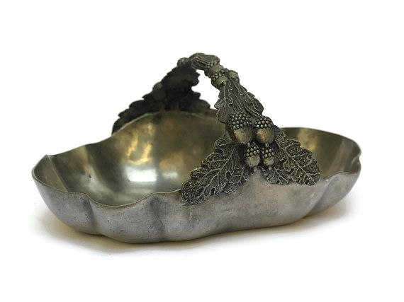 Antique French Pewter Nut Dish. Pewter Basket With Acorns