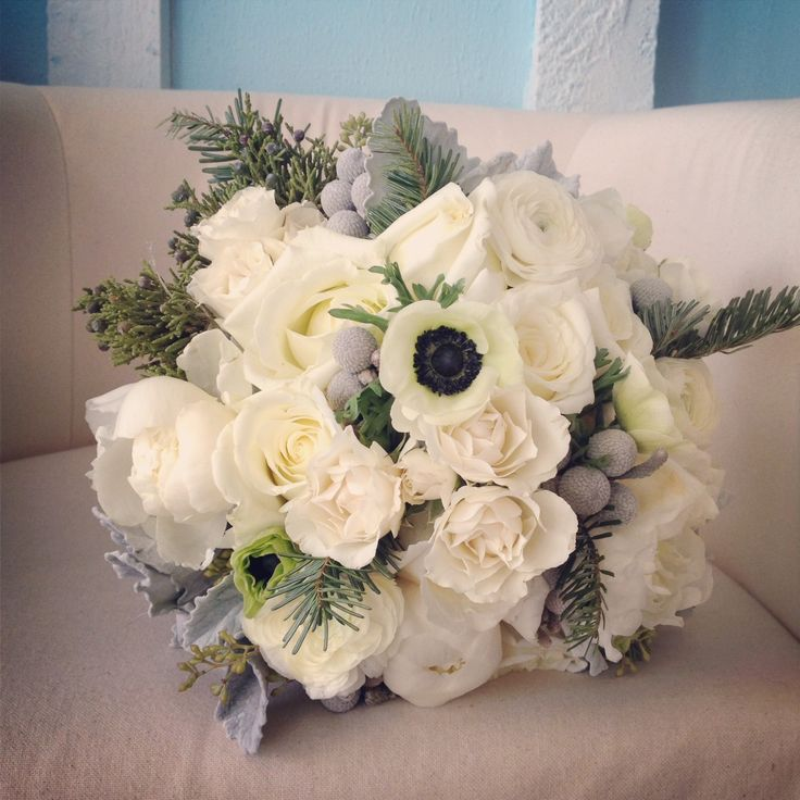 Winter white wedding bouquet of anemones, garden roses ...