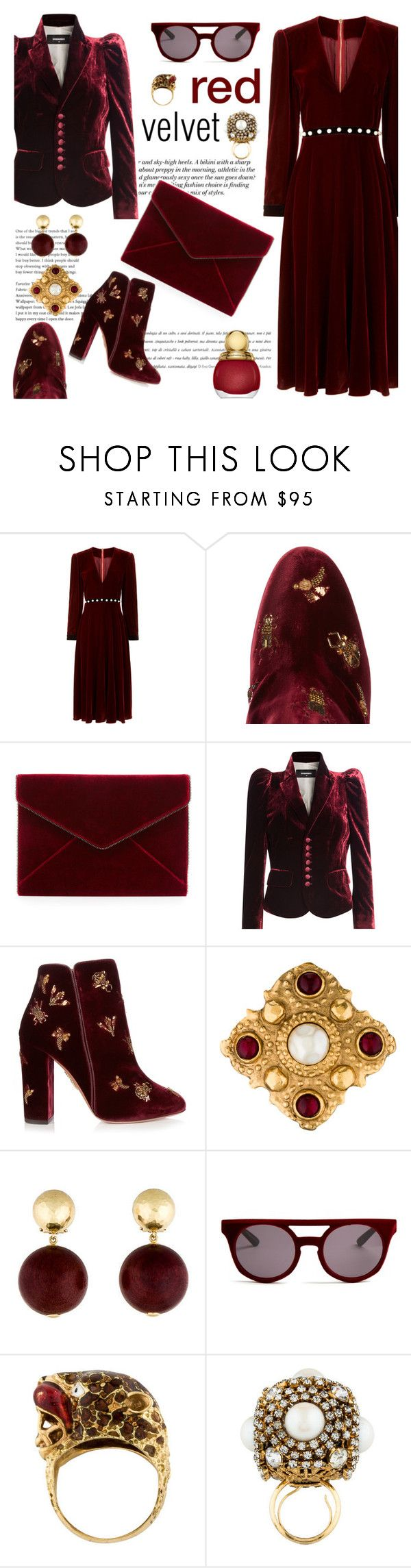 """""""Red velvet"""" by pensivepeacock ❤ liked on Polyvore featuring Philosophy di Lorenzo Serafini, H&M, Aquazzura, Rebecca Minkoff, Dsquared2, Chanel, Italia Independent, Erickson Beamon and Christian Dior"""