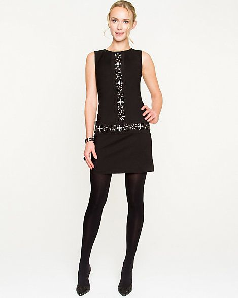 Jewelled Fitted Dress - A mod inspired drop-waist dress is given a glamorous touch with jewelled appliqués.