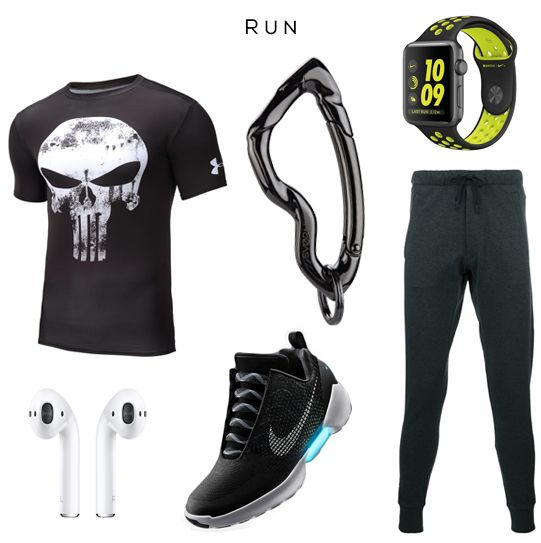 RUN Style Set //  Clockwise: Punisher tee by Under Armour, Arcus carabiner keychain by @svorndesign, Watch by NIKE x APPLE, Pants by Y3, HyperAdapt sneakers by NIKE, AirPods headphones by APPLE // #mensstyle #run #running #edc #gear #gadget #watch #apple #nike #sneakers #sneaker #streetwear #mensfashion #menswear #style #stylish #training #mensgifts #giftsforhim #luxury #menfashion #streetstyle #giftsforhim #essentials #everydaycarry #mensaccessories #keychain #carabiner #runn