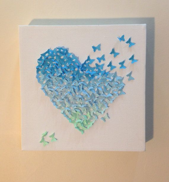 Blue ombre butterfly heart 3d paper art canvas wall for 3d canvas ideas