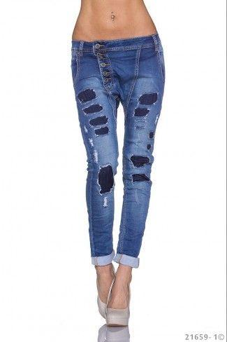 Τζιν παντελόνι βράκα με μπαλώματα - Μπλε