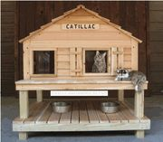 heated shelters for cats | CATillac Insulated Cat House w/ Window + Heated Cat House option