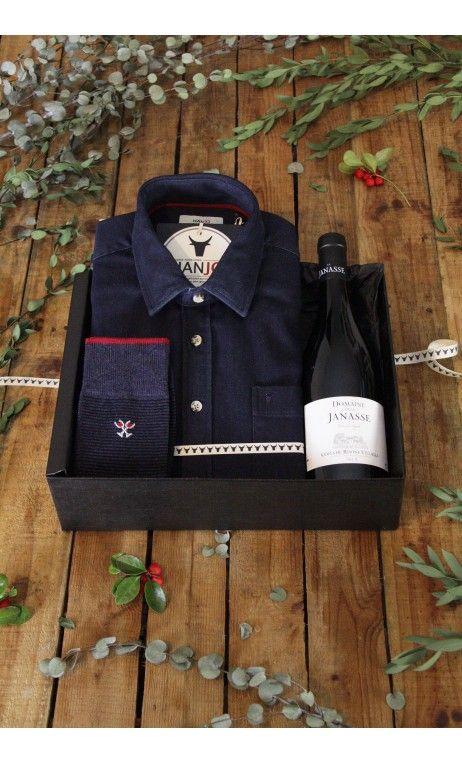 Chemise Homme Mode en Jean et coudières en suédine bleu marine, Coffret Cadeau, Thème : Idée Cadeau, vin, gastronomie, noel, cadeau idéal pour homme de 30, 40, 50 ans
