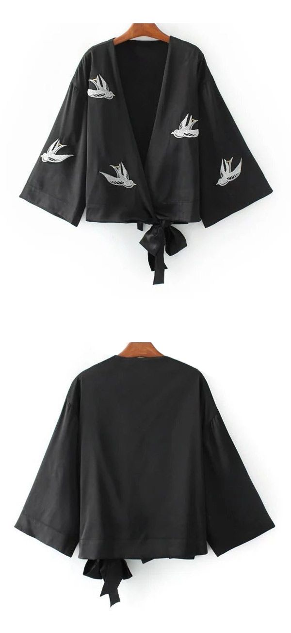 Women birds printed embroidery v collar kimono coat,very suitable for this fall/winter/spring;Now Free shipping worldwide! No minimum purchase! Easy Return.Search more fashion clothing at bellolla.com