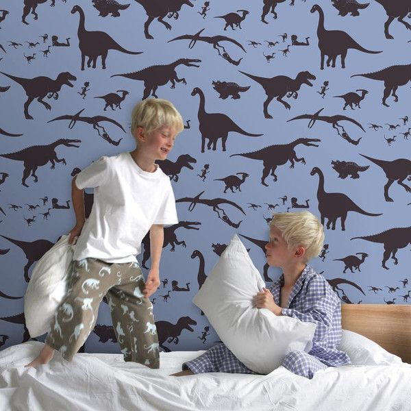 PaperBoy: 'D'ya-think-e-saurus' in blue and Chocolate brown by PaperBoy | JUST KIDS WALLPAPER™