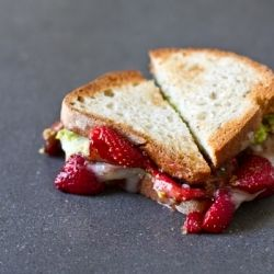avocado strawberry goat cheese sandwich