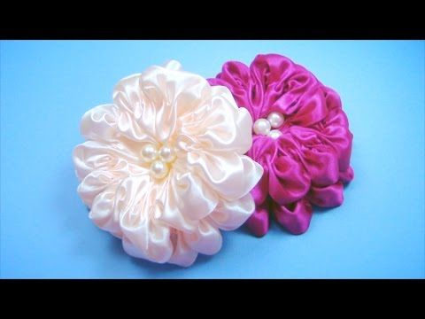 Kanzashi - flowers made of fabric. Kanzashi. Learning the basic techniques of work - YouTube