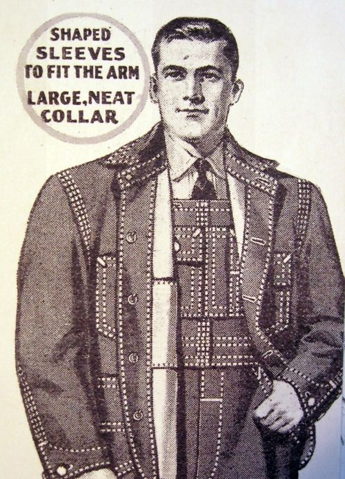 Vintage workwear ad, 1930s, denim with top stitching