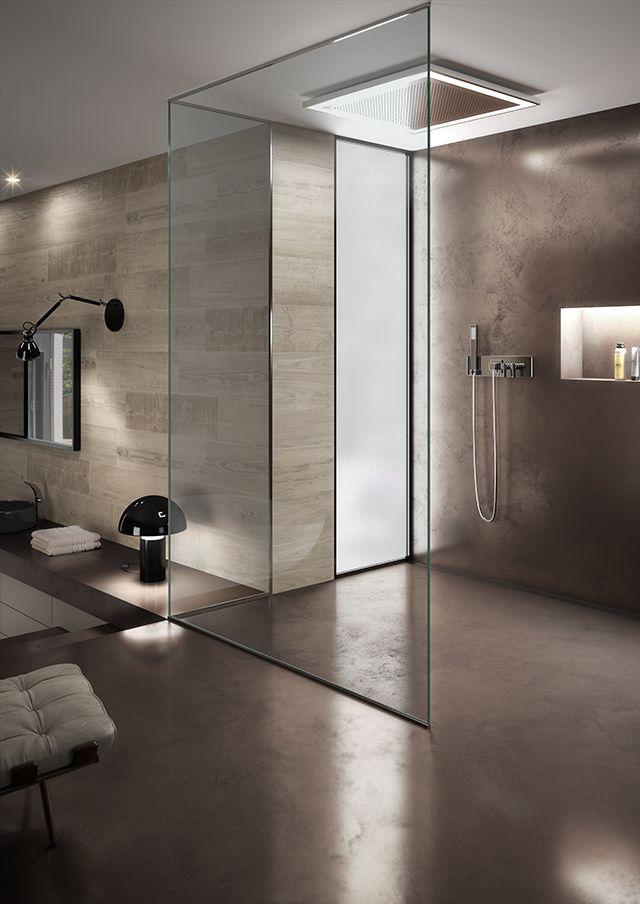 Baño. Pavimento y revestimiento de microcemento metalizado contínuo. Imagen 3D fotorrealista. actua.es