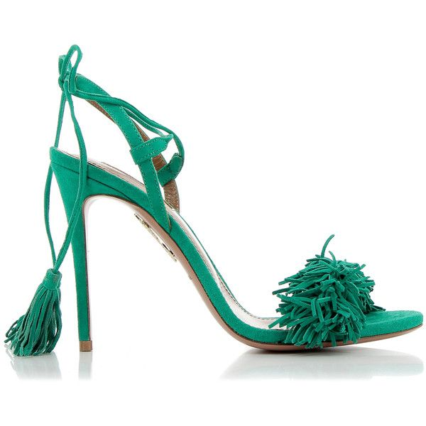 Aquazzura Wild Thing Green Sandals (15.430 UYU) ❤ liked on Polyvore featuring shoes, sandals, leather fringe sandals, open toe sandals, leather sandals, open toe shoes and leather high heel sandals