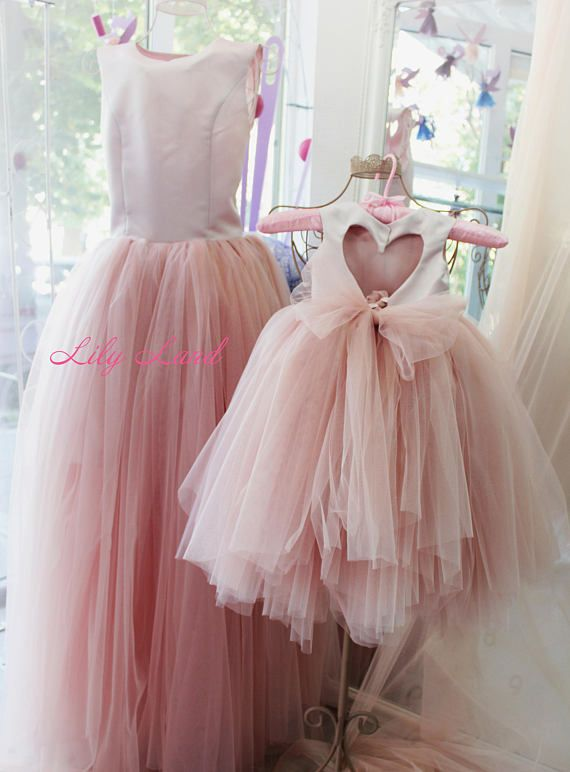 Pink mother daughter matching dress tulle Mommy and me Christmas ... 9da158d49c3e