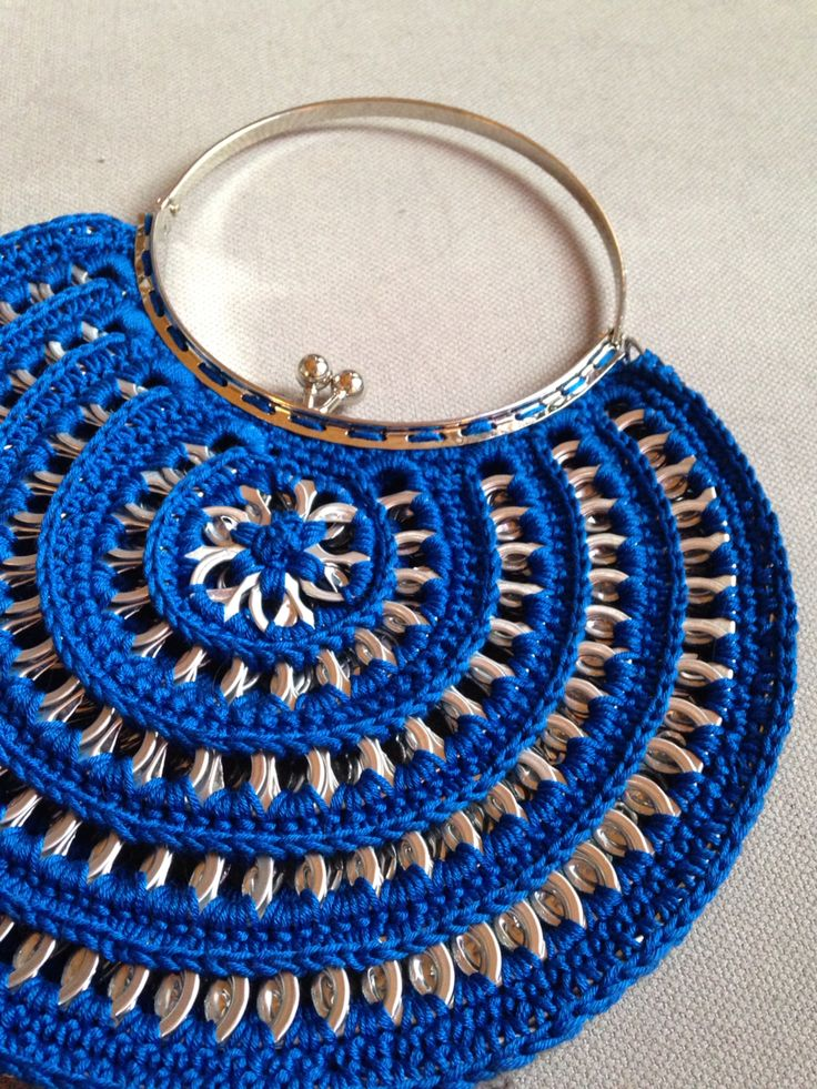 Blue half moon purse made from soda tabs