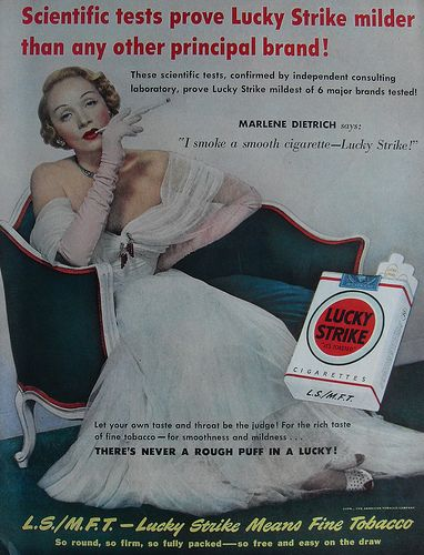 1940s MARLENE DIETRICH Lucky Strike Cigarettes Advertisement Smoking Hollywood Classic by Christian Montone, via Flickr