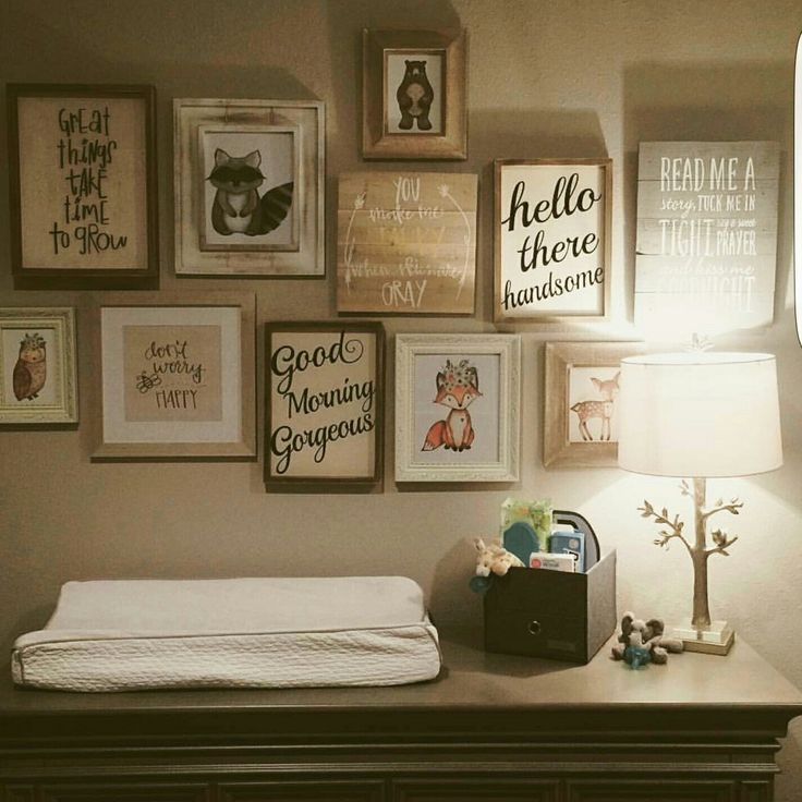 Another gorgeous gallery wall featuring my RosaLilla woodland animals. I love seeing my prints bring a theme together. Woodland nursery decor, woodland animals, rustic nursery decor.