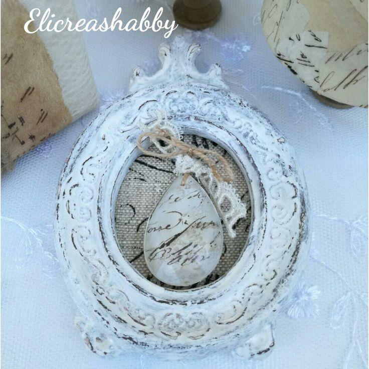Quadretto invecchiato con goccia di cristallo decorate Elicreashabby
