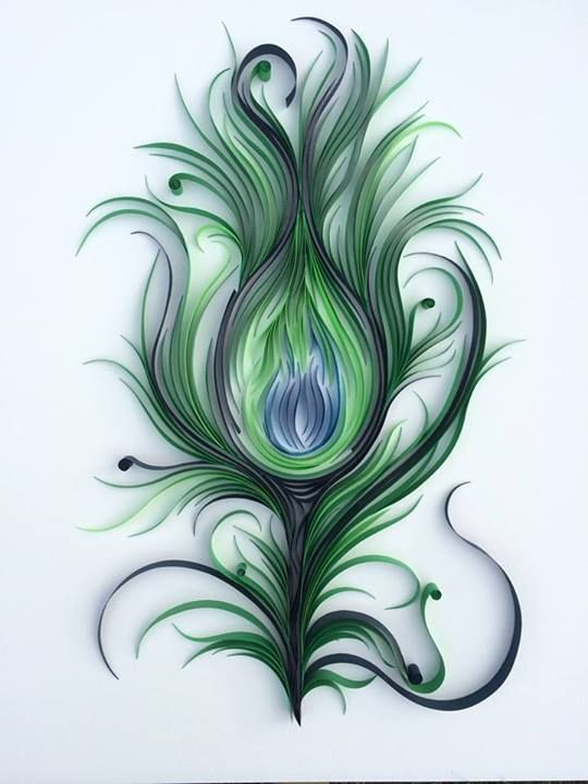 pluma de pavo real. peacock feather.. #quilling