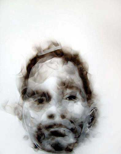 Diane Victor - smoke drawing - she uses the smoke from candles to draw with