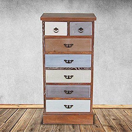 Vintage Kommode mit 7 Schubladen Hochschrank Sideboard Highboard Schränke NEU: Amazon.de: Küche & Haushalt