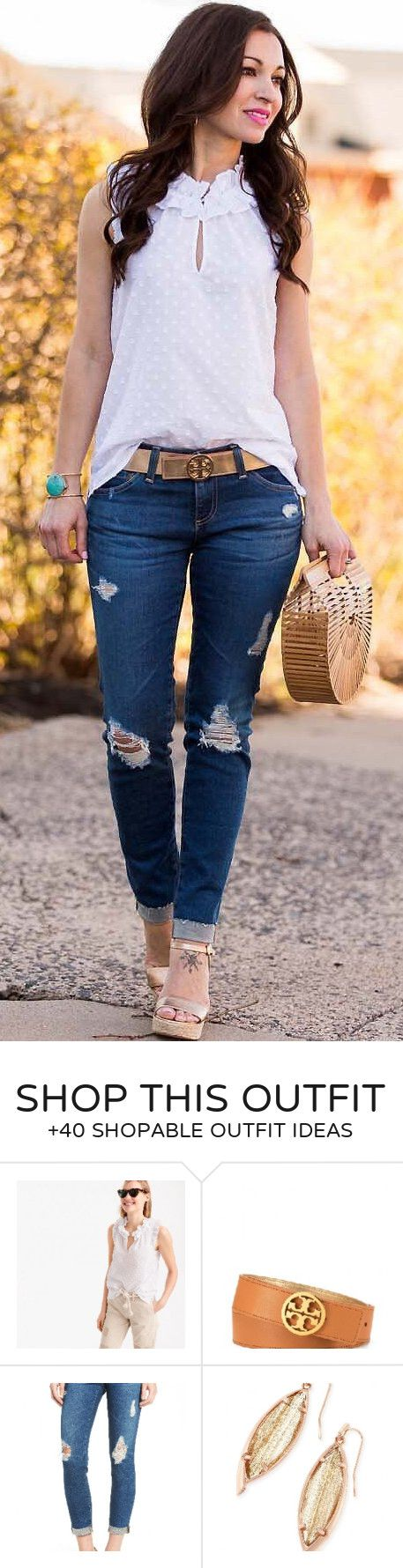 #summer #outfits White Dotted Blouse + Ripped Jeans + Wood Clutch