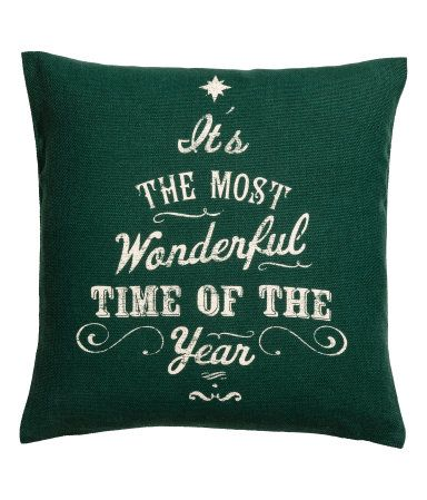Dark green. Cushion cover in woven cotton fabric with a printed Christmas motif. Concealed zip.