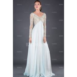 Today Review - Empire V-neck Floor-length Chiffon Lace Mother of the Bride Dress
