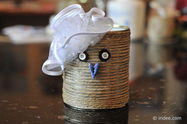 Gufetta - barattolino realizzato con materiale di recupero - Lisa Massei