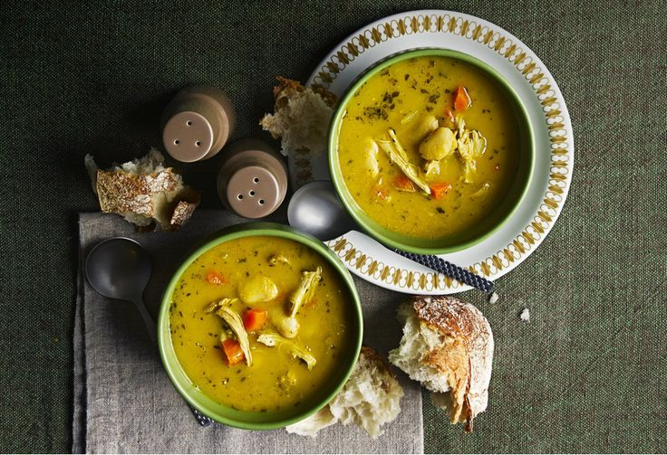 This rustic, chunky soup uses up leftover roast chicken. Its the perfect comfort food on a chilly winter's day.