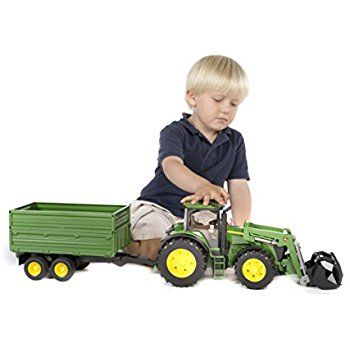Amazon.com: Bruder John Deere 7930 with Frontloader and Tandemaxle Tipping Trailer: Toys & Games